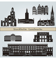 Stockholm landmarks and monuments vector