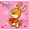 Bunny with heart vector