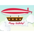 Happy birthday with balloon and ribbon vector