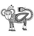 Black line art ornate animal flower design vector