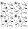 Doodle seamless pattern with tea and sweets vector