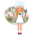 Girl cook in the kitchen vector