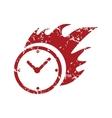 Red grunge hot clock logo vector