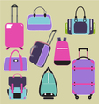 Handbags bags and travel suitcases background vector