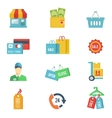 Flat design shopping icons vector