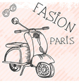 Scooter retro hand drawn design card vector