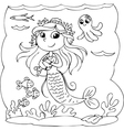 Coloring mermaid underwater with fishes vector