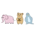 Different cartoon style animals vector