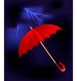 Umbrella in a thunderstorm vector