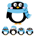 Cute penguin set isolated on white - blue vector