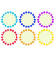 Colourful round empty templates made of stars vector