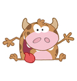 Happy calf cartoon character vector