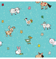 Farm animals and flowers vector
