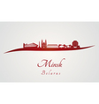 Minsk skyline in red vector