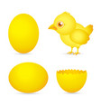 Easter day golden chicken baby cartoon character w vector
