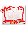 Christmas background with red bows and gift boxes vector