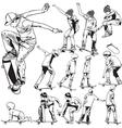 Skateboarding drawings vector