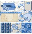 Vintage blue flowers vector