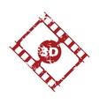 Red grunge 3d film logo vector