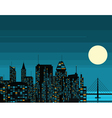 Night futuristic city with big moon vector