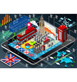 Isometric infographic of great britain on tablet vector