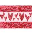Red heart love pixel vector