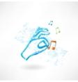 Hand music grunge icon vector