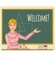 Teacher at blackboard vector