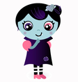 Cute thinking valentine vampire girl vector
