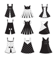 Set of kid girl dress icons vector