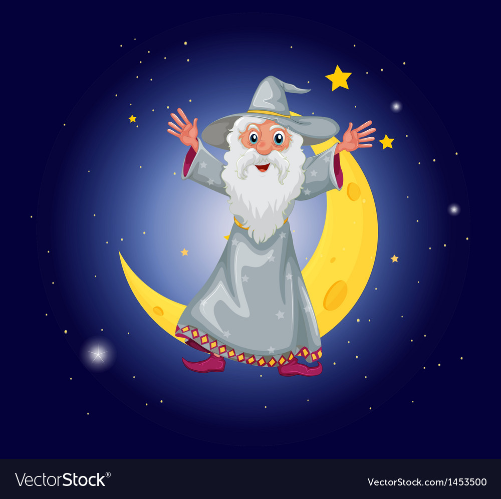 A wizard floating near the moon vector | Price: 1 Credit (USD $1)