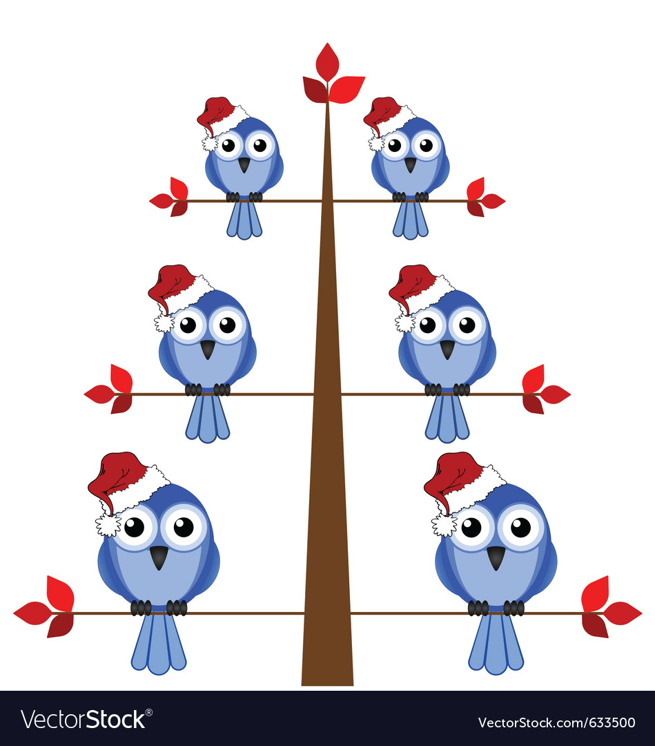 Bird christmas tree vector | Price: 1 Credit (USD $1)