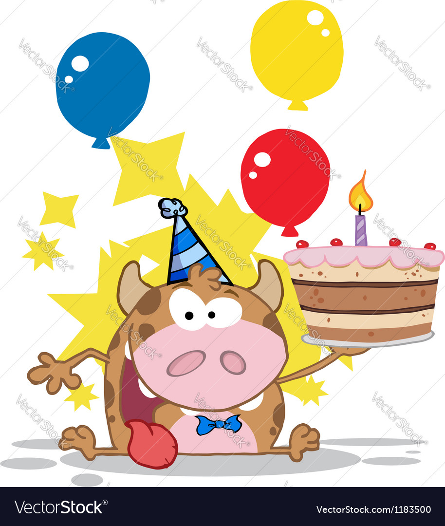 Birthday calf cartoon character vector | Price: 3 Credit (USD $3)