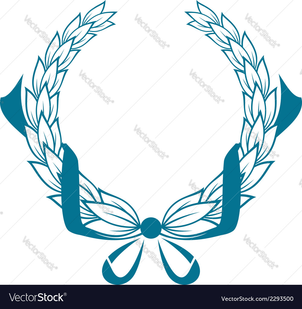 Blue color foliate circular wreath vector | Price: 1 Credit (USD $1)