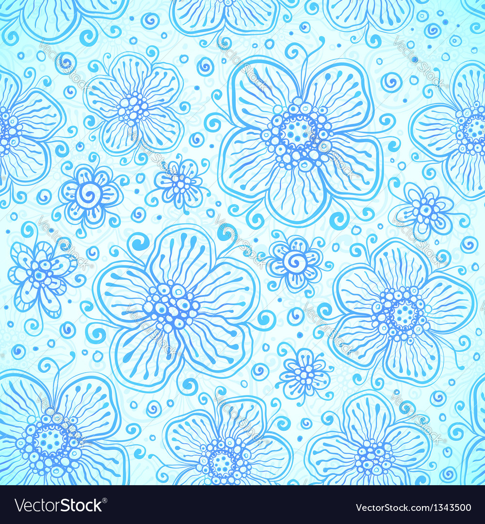 Blue colors romantic flourish seamless pattern vector | Price: 1 Credit (USD $1)