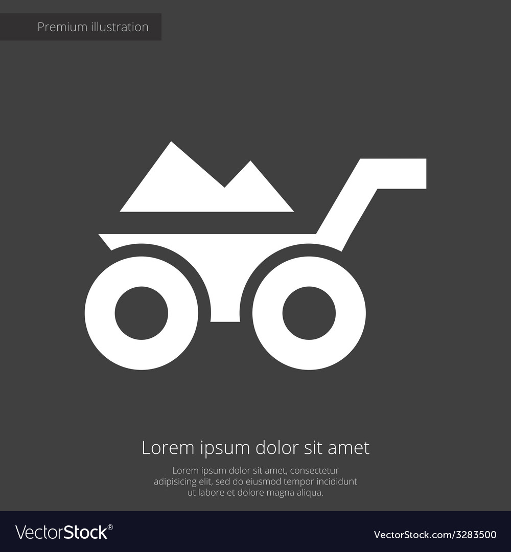 Construction wheelbarrow premium icon white on dar vector | Price: 1 Credit (USD $1)