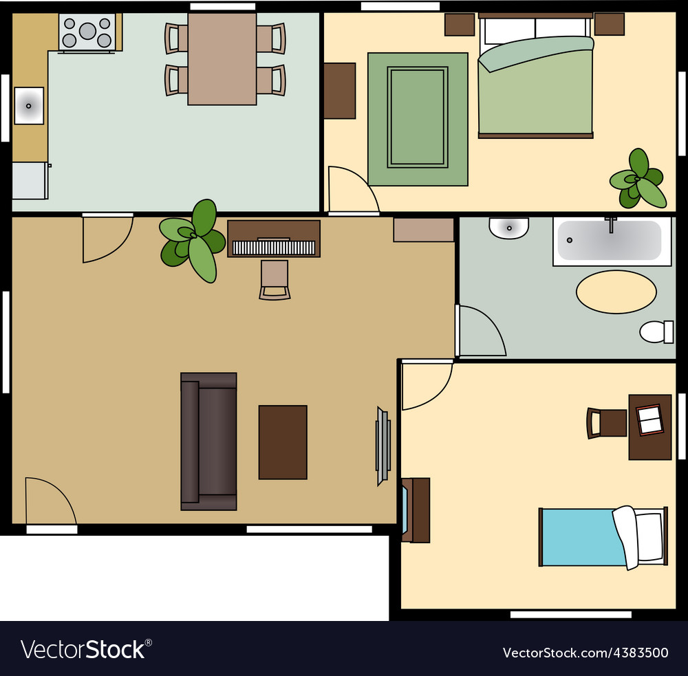 Flat scheme with furniture view from above vector | Price: 1 Credit (USD $1)