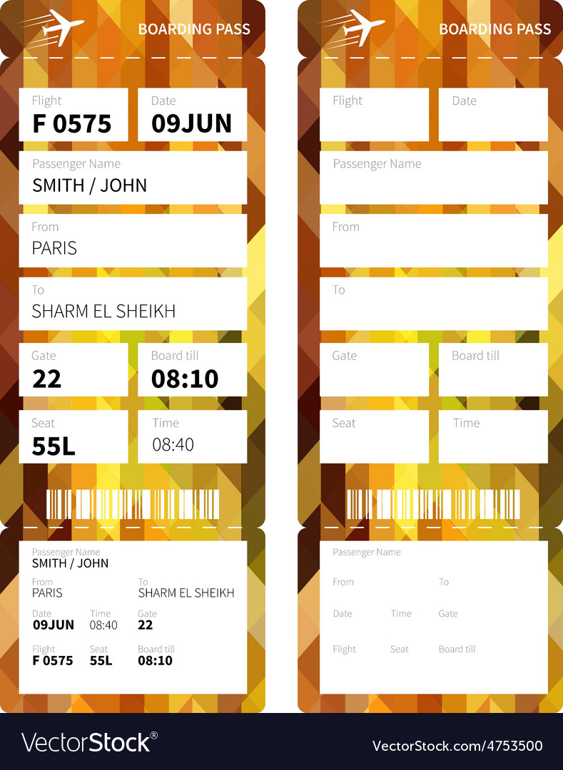 Gold boarding pass vector | Price: 1 Credit (USD $1)