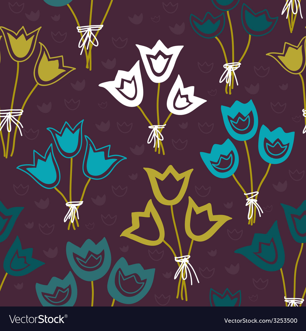 Seamless pattern with bunches of tulips on a dark vector | Price: 1 Credit (USD $1)