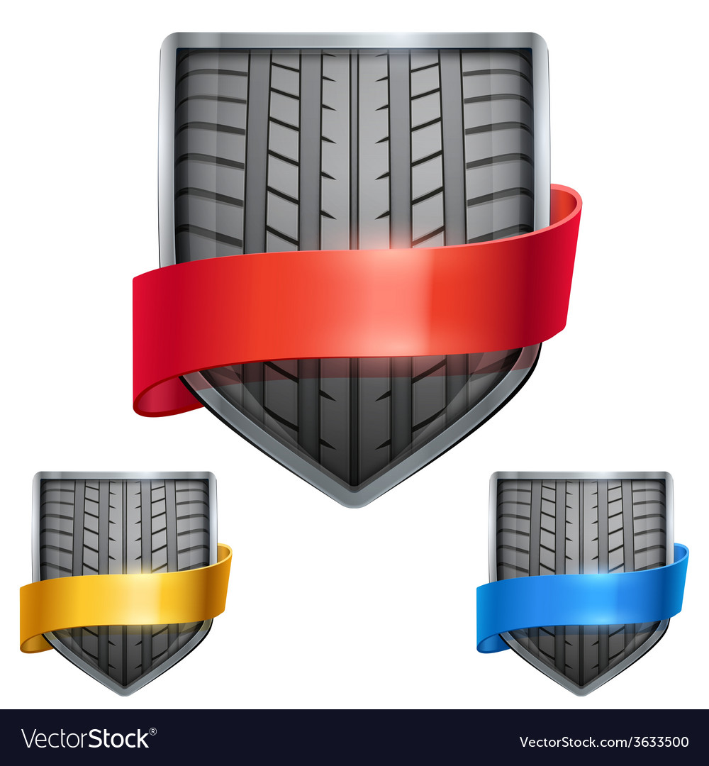Set of bright shield in the race tire inside with vector | Price: 1 Credit (USD $1)
