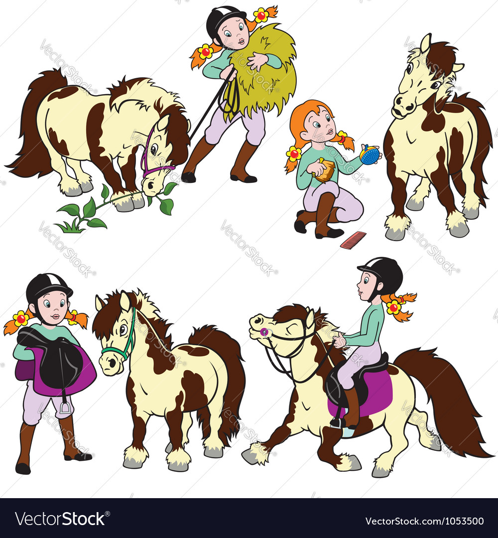 Set with girl and pony vector | Price: 1 Credit (USD $1)
