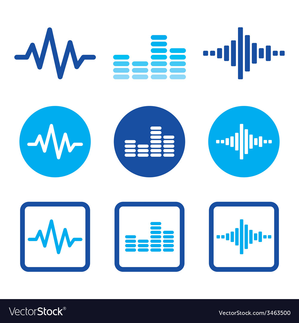 Sound wave music blue icons set vector | Price: 1 Credit (USD $1)