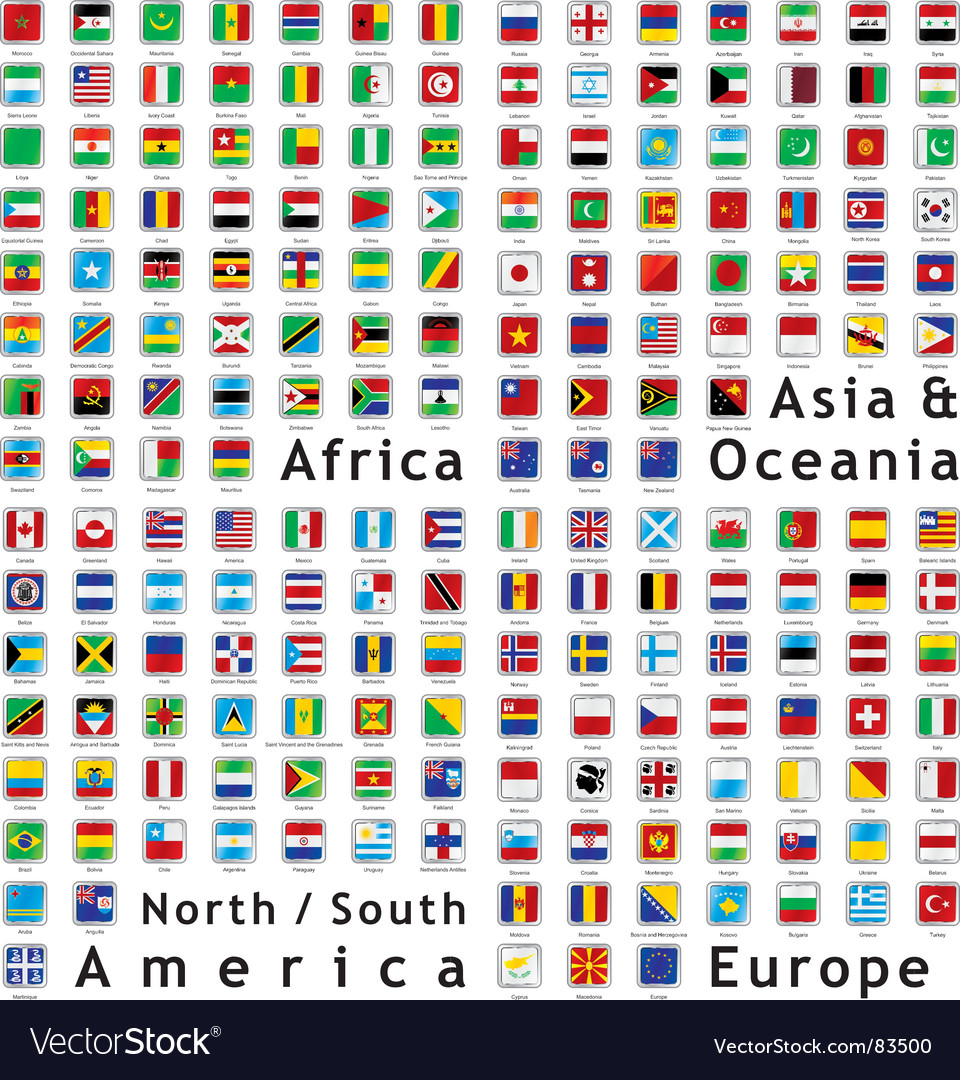 World flags web buttons vector | Price: 1 Credit (USD $1)