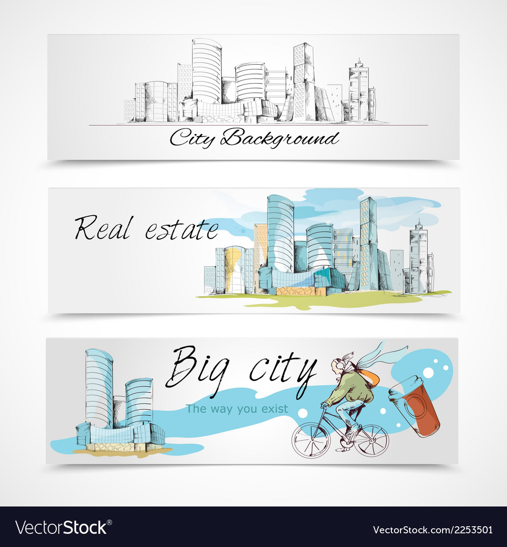 Big city banners vector | Price: 1 Credit (USD $1)