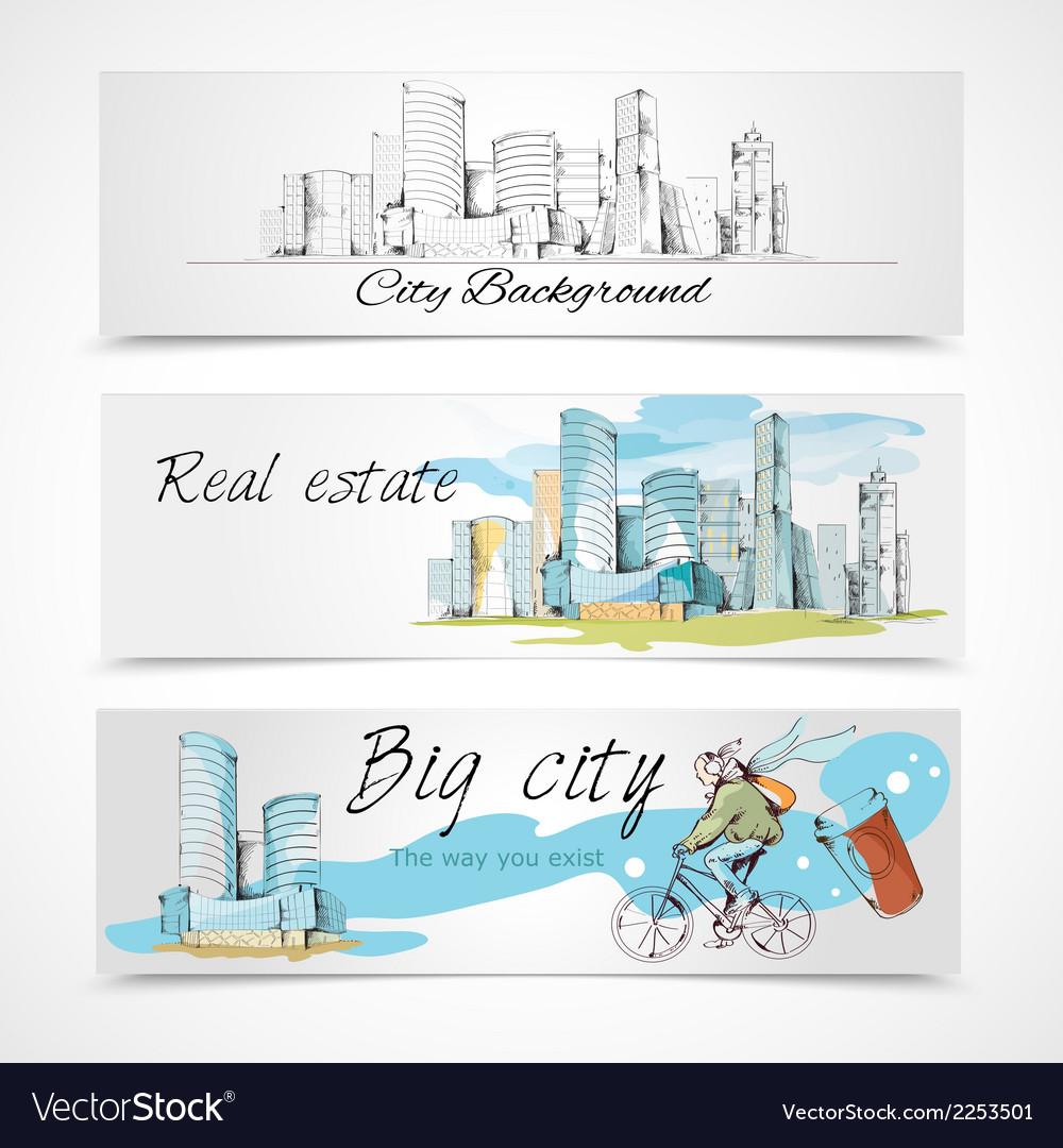 Big city banners vector | Price: 1 Credit (USD $1)