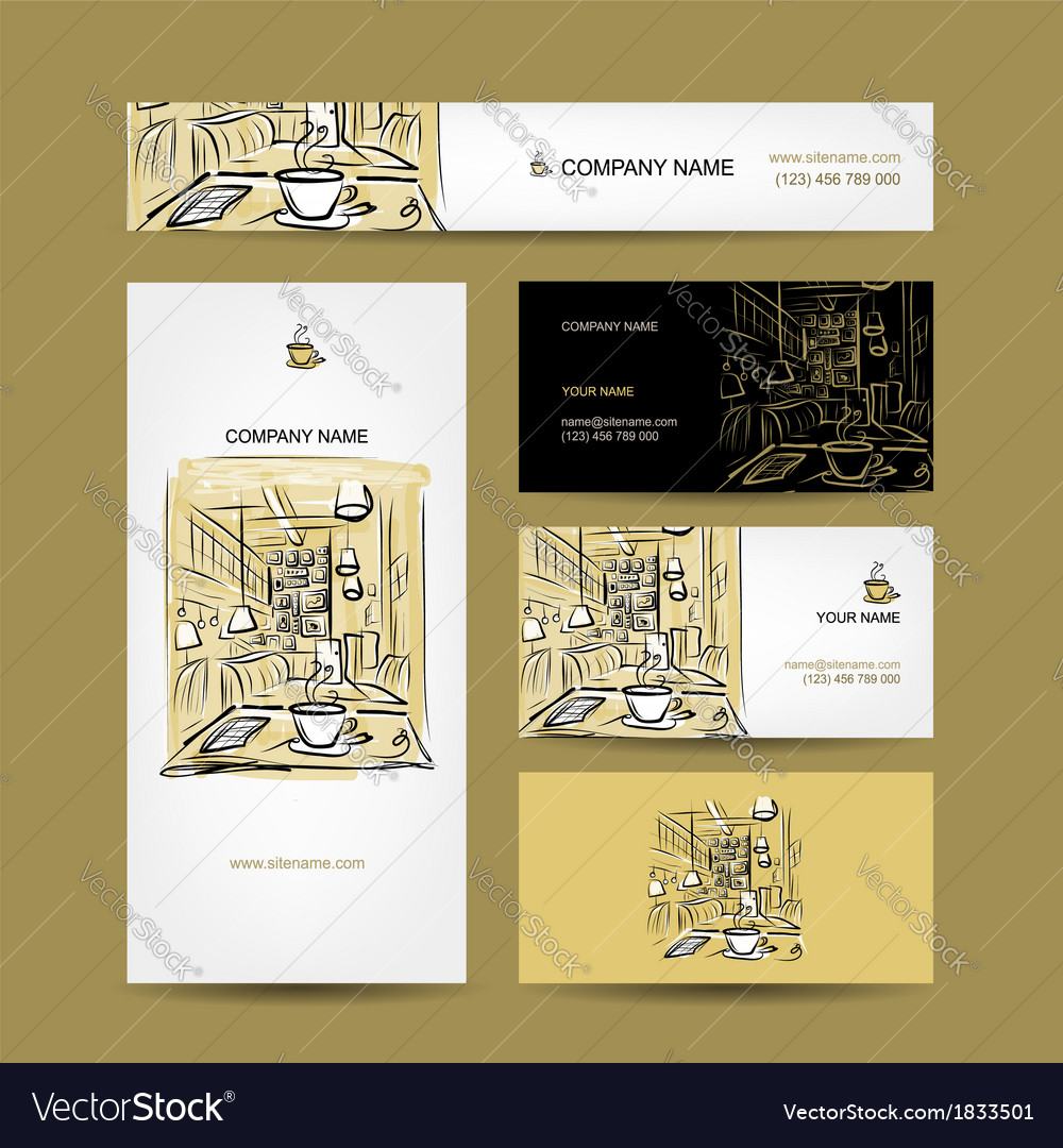 Business cards design coffee house sketch vector | Price: 1 Credit (USD $1)
