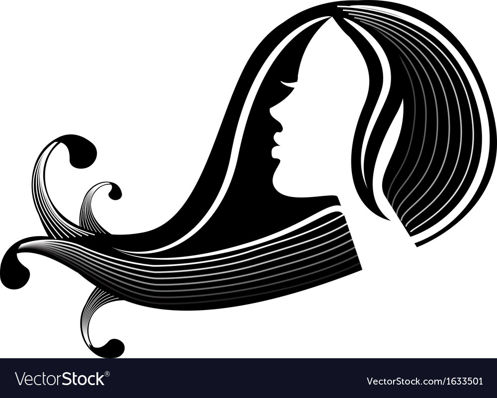 Female silhouette in profile and hair vector | Price: 1 Credit (USD $1)