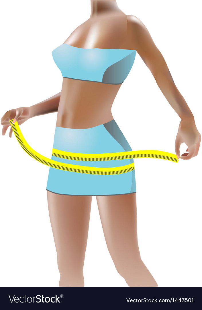 Girl measuring hips vector | Price: 1 Credit (USD $1)