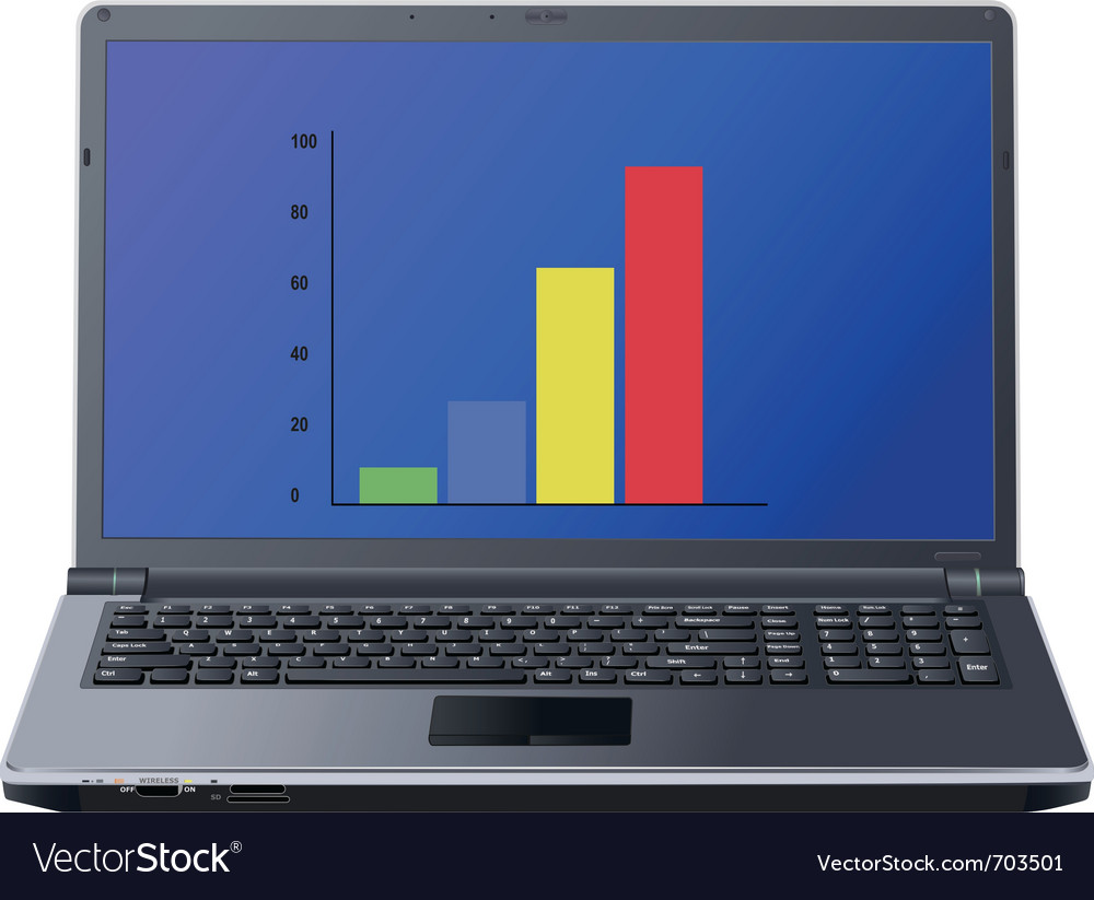 Graph on laptop screen vector | Price: 3 Credit (USD $3)