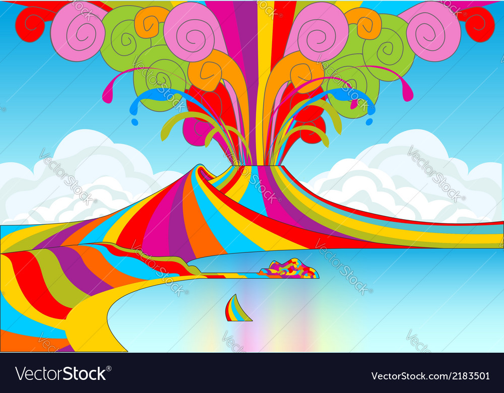 Naples and vesuvio in rainbow eruption vector | Price: 1 Credit (USD $1)